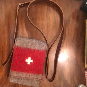 Handbags - Swiss leather and wool crossbody bag
